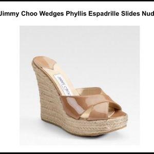Jimmy Choo Nude Phyllis Wedges /Slides Size 8
